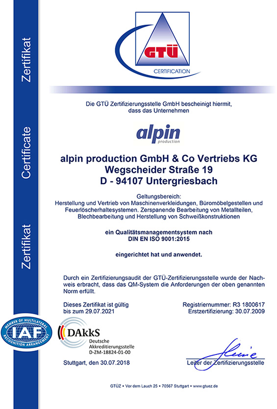 Zertifikat Qualitätsmanagement Deutsch - alpin production GmbH & Co Vertriebs KG - Untergriesbach