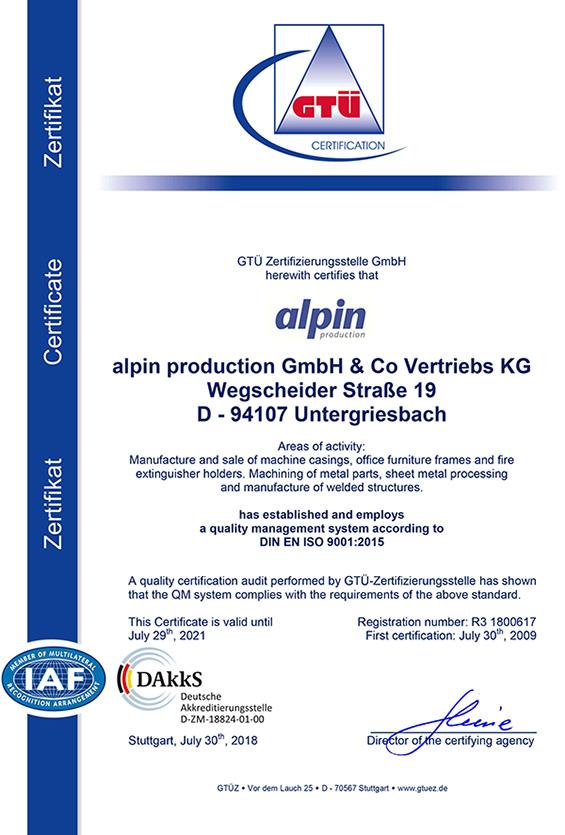 Zertifikat Qualitätsmanagement Englisch - alpin production GmbH & Co Vertriebs KG - Untergriesbach